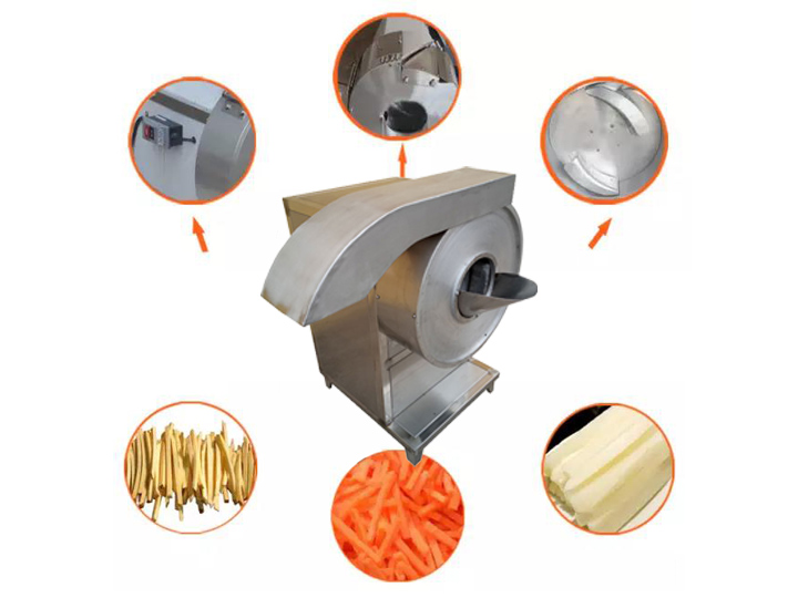 automatic slicer display for making potato strips