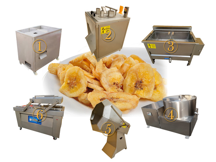 semi-automatic fried banana chips processing line
