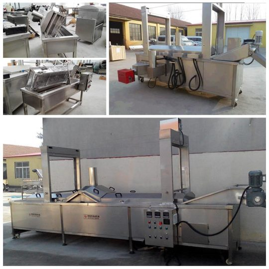 continuous fryer machine for large scale production of chips and fries