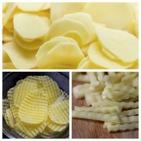 various potato cutting effect