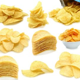 various types of potato chips of the market