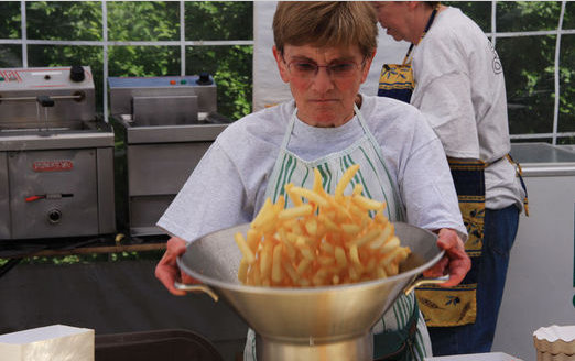 French fries processing on the streets of Belgium
