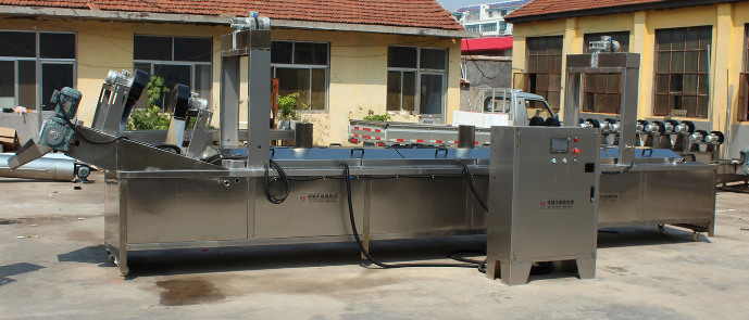 Electrically heated oil frying line