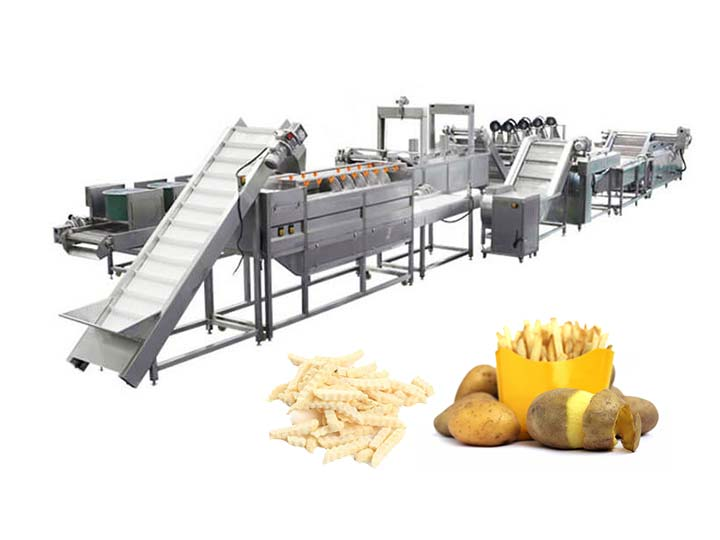 continuous frozen french fries processing line